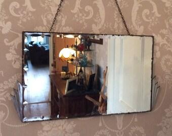 Vintage Bevelled Fancy Edge Chrome Trim Mirror Art Deco