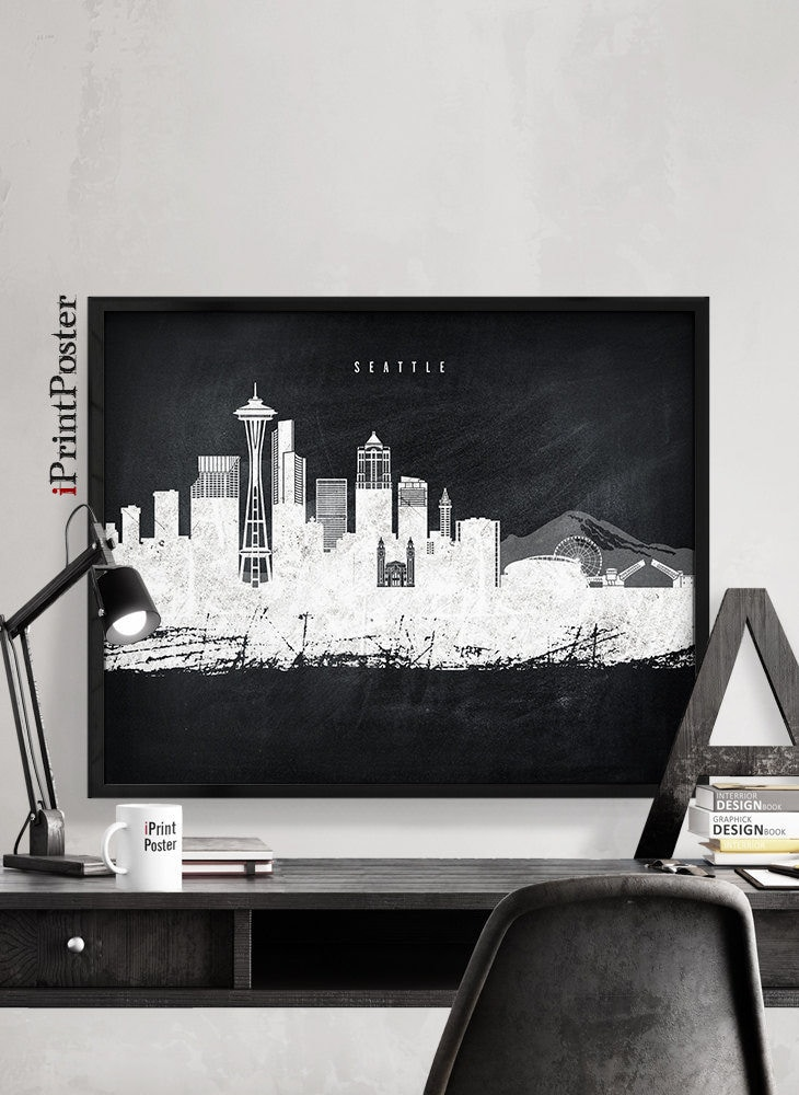 seattle chalkboard poster seattle distressed print washington wall art home decor travel poster city prints wall decor iprintposter - Seattle Home Decor