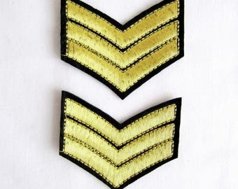 Iron On Scala Gold Emblem, Braid Military Stripe With aviation tag grade custom, Iron On Embroidered Patches,Gold Applique