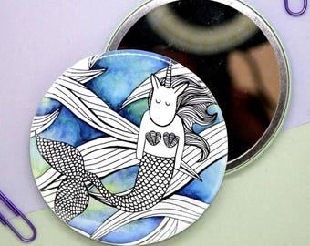 Watercolour Mermaid Unicorn Mirror