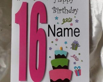 Personalised Handmade 13th,16th, 18th, 21st Any Age  Birthday Card Daughter,Granddaughter, God Daughter Niece, Friend etc.