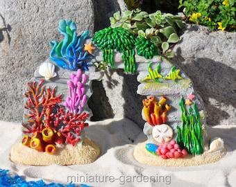 Coral Reef with Sea Life for Miniature Garden, Fairy Garden