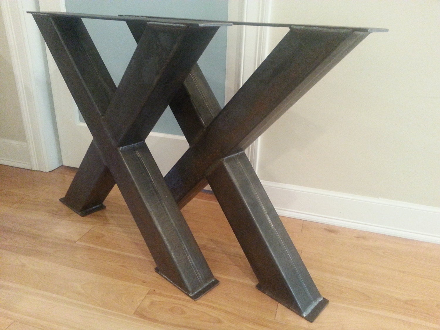 Metal table legs 4 steel table legs oversize x metal for Table bois metal