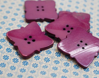 1920's Vintage Tagua Nut Ivoroid Coat or Cardigan Buttons Purple scalloped squares 2cm