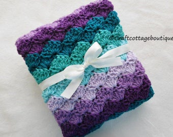 Crochet Baby Blanket - Travel / Stroller / Car Seat / Crib Size - Purple and Teal - Girl Baby Shower Gift -Nursery Bedding -Afghan -Knit