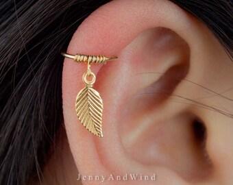 cartilage earring hoop helix earring hoop cartilage piercing helix piercing leaf gold filled 22g 20g 18g 16g