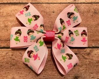ballet dancers bow, hair bows, hair clips, girls hair bows, hair bows for girls, boutique bows, kids bows