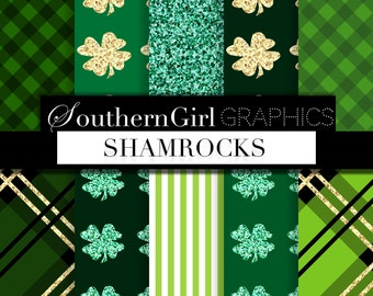 "Shamrock digital paper: ""SHAMROCKS"" St Patrick's Day, green, gold, glitter, stripe, plaid, shamrock patterns for st patty's crafts, planners"