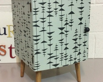 Fab Little Mid-Century Bedside Cabinet / Nightstand Upcycled Farrow & Ball Eggshell and MissPrint Wallpaper