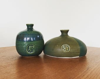 Set of two vintage studio pottery vases / blue-green art pottery