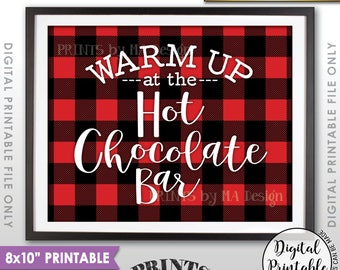 "Hot Chocolate Bar Sign, Warm Up at the Hot Chocolate Bar, Hot Chocolate Sign, Hot Cocoa, 8x10"" Red Checker Style Printable Instant Download"