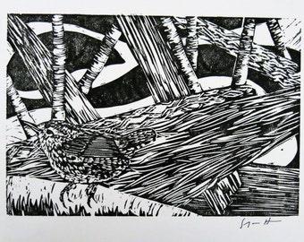 Winter Wren bird art block print