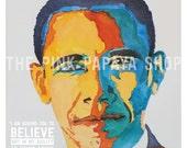8x10 PRINT | President Obama watercolor