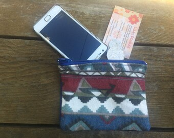 Handmade in Australian Hippie Indi Striped Flannel Coin purse , makeup bag , mobile holder , opal card holder , bag organisers.