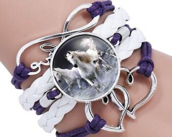Trendy Horse Photo Glass Cabochon Leather Charm Bracelet