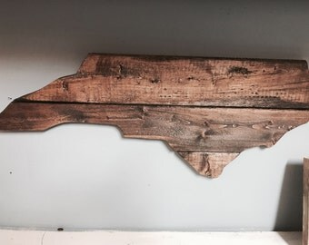 North Carolina Cutout Sign Dark Walnut Stain Finish Wall Decor