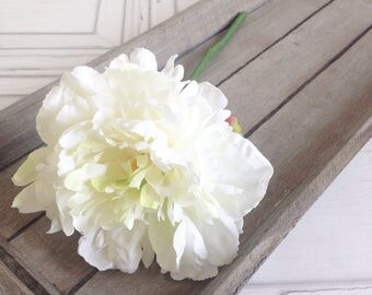 Faux white artificial silk peonies
