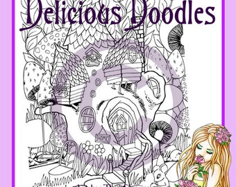 Fairy Treehouse Colouring Page, Coloring Page, Digital Stamp
