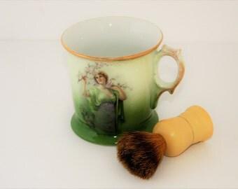 Victorian style Shaving Mug with Badger Brush