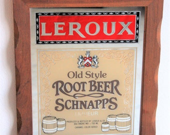 Leroux Old Style Root Beer Schnapps Sign Vintage Bar Mirror