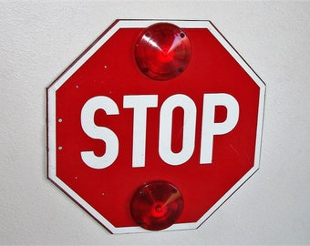 Vintage Metal Stop Sign 18 x 18 Inches Ready To Hang
