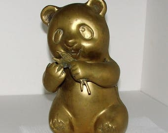 Brass Panda Eating Bamboo 5 Pound Brass Panda Very Cool Who Doesn't Love Pandas