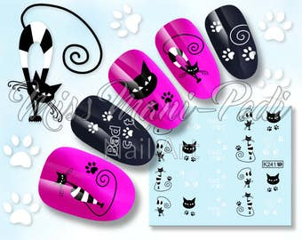 White & Black Cats Nail Art Water Decal, Lucky Cat Nail Stickers, Paw Print Nails, Water Nail Decals, Kittens Water Stickers, K241
