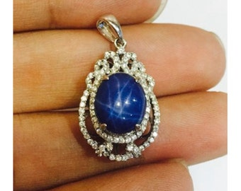 925 Sterling Silver Pendant with Simulated Diamond and Star Sapphire stone