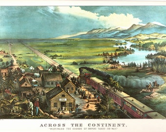 Across the Continent, an Extra large Bookplate, from Currier and Ives. The page is 18 3/4 inches wide and 14 inches tall.
