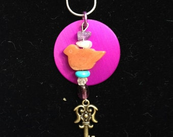 Bird, Key, Energy Disk Pendant