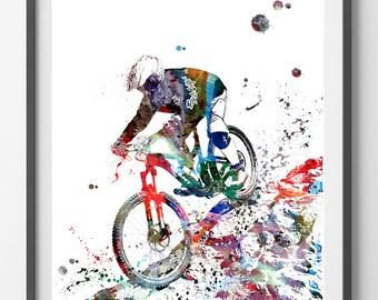 Mountain Biker watercolor print Off-Road Bicycling print mountain biker riding rocks poster mtb freerider sport art cycling art [296]