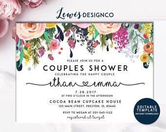 Couples Shower Invite, Floral Bridal Shower Invitation, Wedding Shower Card,  Editable Card Print Yourself Instant Download, Pink Spring
