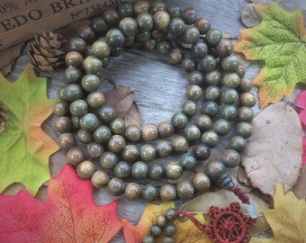 Natural Green Verawood 108 12mm/10mm Wood Beads Japa Mala Buddha Meditation Necklace Yoga Bracelet