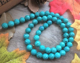 Full Strand Faceted Round Turquoise Beads, Stone Beads Charms 15 inches DIY Loose Beads For  Handcrafts Jewelry Findings