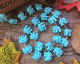 "10X Strand Turquoise 15"" Plastic Elephant Spacer Charms Loose Beads DIY Supplier For Handcarfts Bracelets"