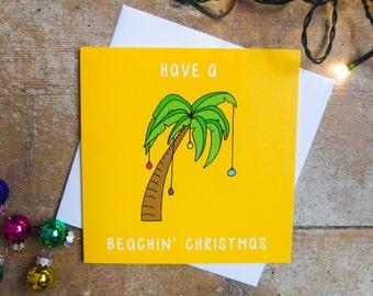 Palm Tree Christmas Card | Have a Beachin' Christmas | Christmas Card | Xmas Card | Tropical Christmas | Exotic Christmas | Card