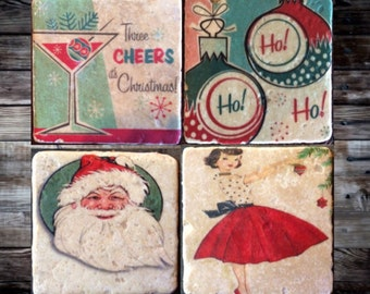 Retro Xmas Tile Set x4