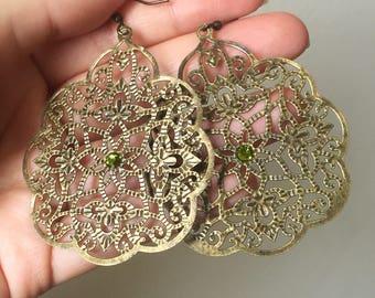 Antique brass filigree boho earrings