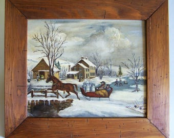 Painting by E. Croft of a Currier and Ives Scene - Copy of American Farm Scenes #4