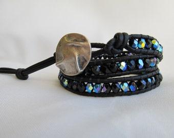 Black Wrap Bracelet, 3 x Wrap Bracelet, Black Boho Chic Wrap Bracelet, Black leather wrap bracelet, Bohemian Jewelry, Black Beaded Wrap