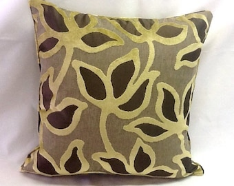 Floral & Gold Velvet Pillow Cover - Romo Fabric - 20 Inch - Decorative Throw Pillow - Gold Taupe Dark Brown - Ready to Ship