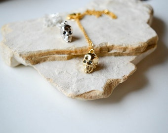 4D gold skull pendant on 18K Gold Plated Necklace/Elegant & Delicate Looking/great gift/Sophisticated jewelry piece!