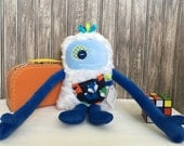 Hug Monster with ribbons, handmade plush toy,two tones blue with fox pocket, friendly monster for child, unique gift, ready to go