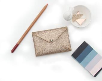 Rose Gold Glitter Business Card Holder, Business Card Case, Gift for Her, Gift Card Holder, Bridesmaid Gift, Gold Desk Accessory
