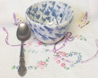 SPONGEWARE Handmade Pottery Prep, Sauce, Dipping or Open Sugar Bowl In Cobalt Blue & White Glaze