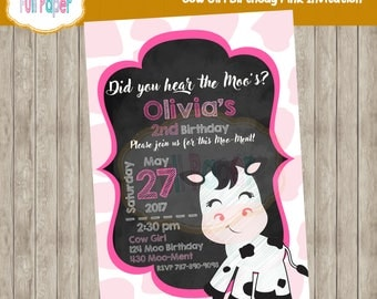 Cow Girl, Birthday, Pink Invitation, Cow Invitation, Cow Party, Cow Invite, Pink and Black Invitation, Cow, Baby shower, One Birthday, Two