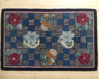 Antique Hooked Rug, Floral Geometric And Block Pattern, Early 20th Century