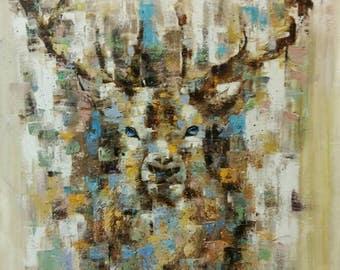 reindeer painting,oil painting of reindeer,Reindeer painting by Kampon