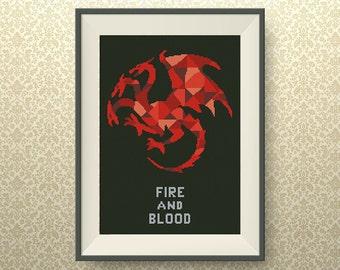 BUY 2, GET 1 FREE! House Targaryen. Game of Thrones cross stitch pattern, Geometric cross stitch pattern, Instant Download, #P149