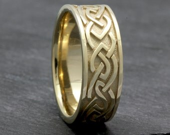 8mm Yellow Gold Celtic Center, Comfort Fit Wedding Band, Gold Rings, Infinity Knot Rings,